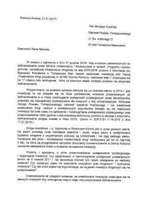 Pismo do Starosty Powiatu Tomaszowskiego w sprawie przebudowy drogi powiatowej na odcinku 4318E Kolonia Rokiciny-Łaznówek etap I