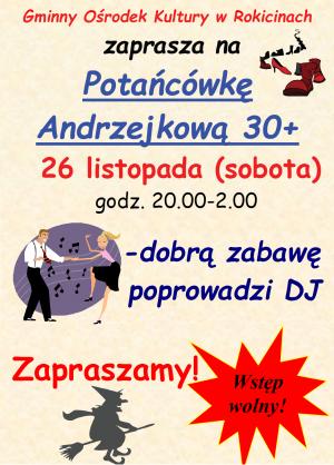 Zaproszenie na potańcówkę Andrzejkową 30+ do GOK.