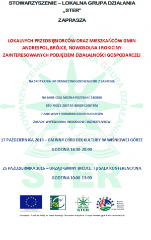 Spotkanie dotyczące pozyskania środków na działalność gospodarczą za pośrednictwem LGD STER