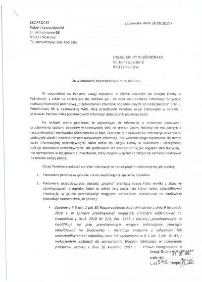 Informacje na temat  realizacji inwestycji pod nazwą: przetwarzanie i zbieranie odpadów innych niż niebezpieczne przy ul. Połudn