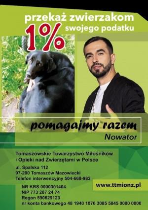 Przekaż  jeden procent na Tomaszowskie Towarzystwo Miłośników i Opieki nad Zwierzętami w Polsce