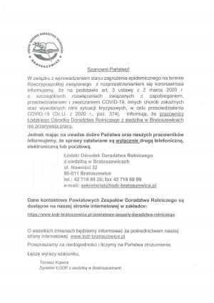Komunikat - Powiatowy Zespół Doradztwa Rolniczego