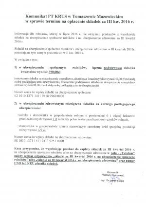 Komunikat PT KRUS w Tomaszowie Mazowieckim w sprawie terminu na spłacenia składek za III kw. 2016 r.