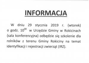 Szkolenie dla rolników z terenu Gminy Rokiciny na temat identyfikacji zwierząt (IRZ).