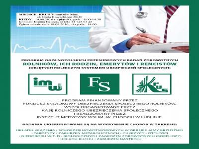 Program Ogólnopolskich przesiewowych badań zdrowotnych dla rolników, ich rodzin, emerytów i rencistów