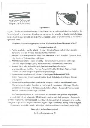 Zaproszenie na konferencję Rolniczej w dniu 16 grudnia 2018 r. w Zespole Szkół nr 1 w Opocznie o godzinie 14.00