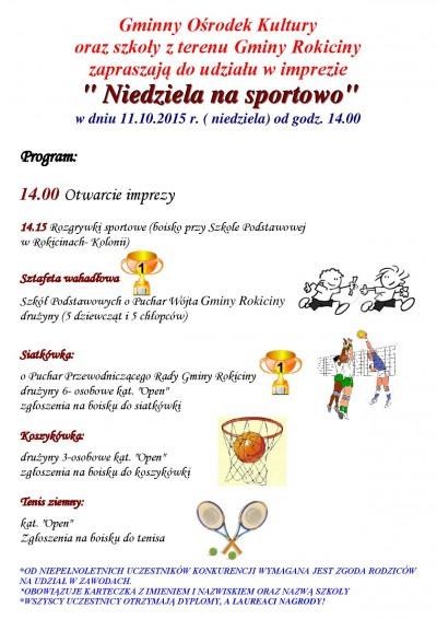 Gminny Ośrodek Kultury oraz szkoły z terenu Gminy Rokiciny zapraszają do udziału w imprezie: Niedziela na sportowo