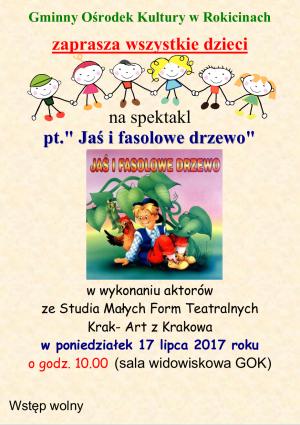 Zaproszenie na spektakl pt. Jaś i fasolowe drzewo