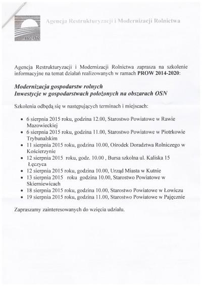 Szkolenie informacyjne na temat działań realizowanych w ramach PROW 2014-2020