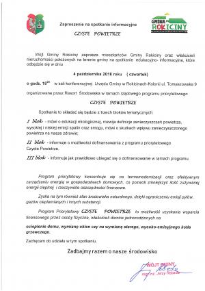 Zaproszenie na spotkanie nt projektu Czyste Powietrze w Gminie Rokiciny
