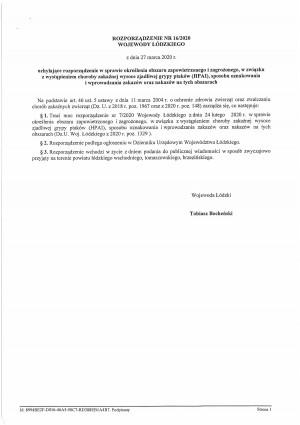 Uchylenie Rozporządzenia Wojewody Łódzkiego dotyczące ptasiej grypy