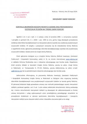 Kontrola Zbiorników Bezodpływowych (szamb) oraz przydomowych oczyszczalni ścieków na terenie Gminy Rokiciny