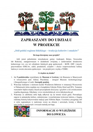 ZAPRASZAMY DO UDZIAŁU W PROJEKCIE: Stół polski regionu łódzkiego – tradycja kolorów i smaków