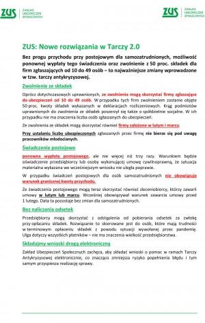 ZUS: Nowe rozwiązania w Tarczy 2.0