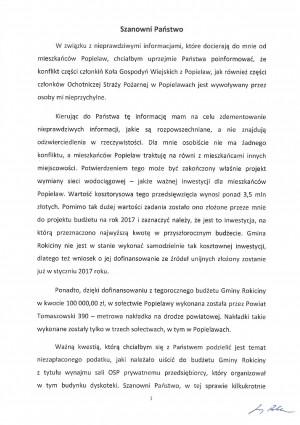 Informacja dotycząca Popielaw