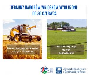 ARiMR - Modernizacja (obszar D) i Restrukturyzacja małych gospodarstw do 30 czerwca